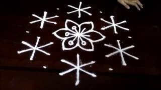 Simple awesome flowers kolam designs with 9-5 middle | chukkala muggulu with dots| rangoli design