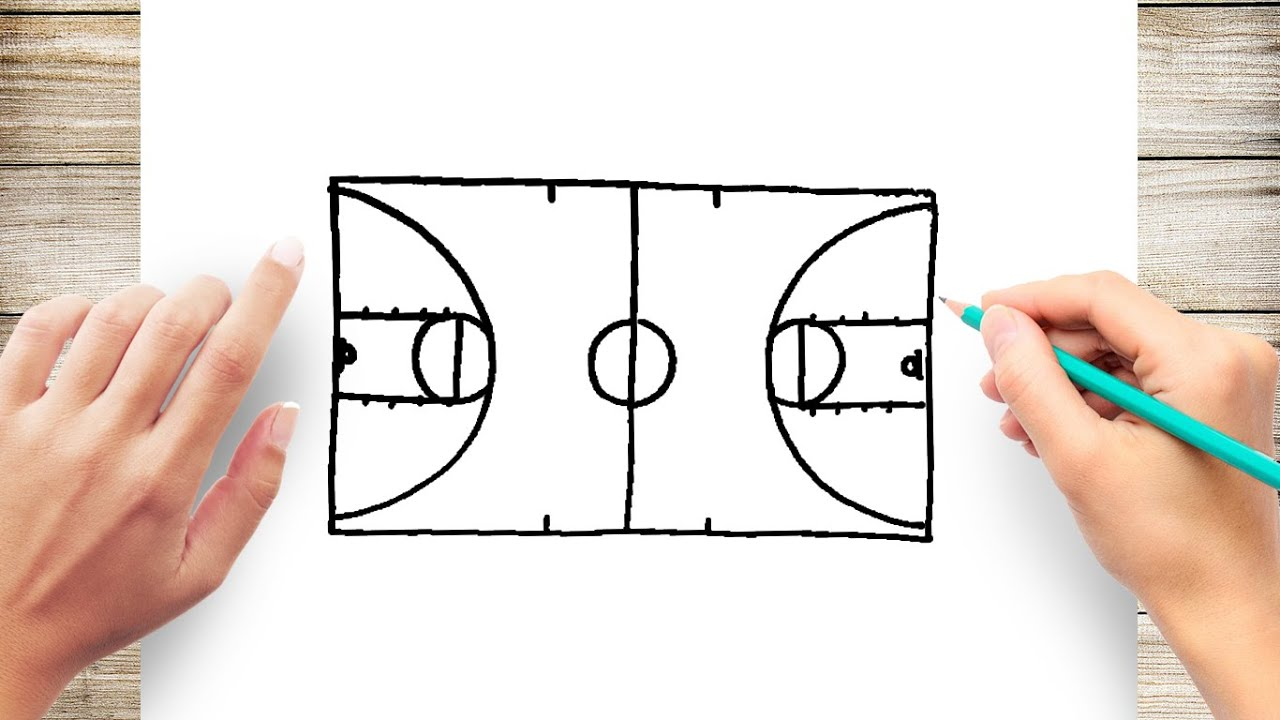 how to draw a basketball court step by step for kids youtube