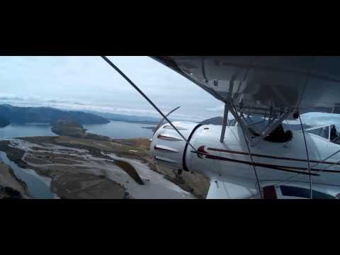 Waco YMF-5 flight above Wanaka, NZ