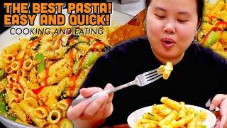 GIANT SHRIMP PARMESAN PASTA RECIPE (COOKING + EATING) MUKBANG 먹방 EATING SHOW!