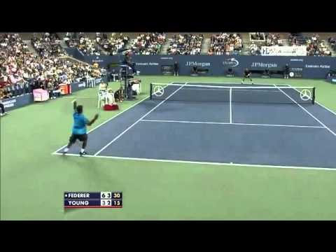 YouTube   Roger Federer Vs Donald Young US Open 2012 First Round Highlights