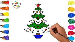 How to Draw and Paint and Christmas Tree Coloring Page for Kids to Learn Drawing