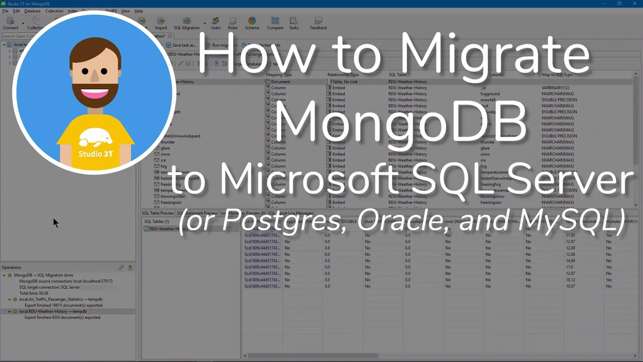How to Migrate MongoDB to a SQL Database Using Studio 3T | The GUI for  MongoDB