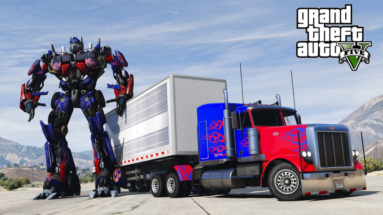 Gta  Transformers Mod I Crashed Into Optimus Prime Hd Fps Youtube