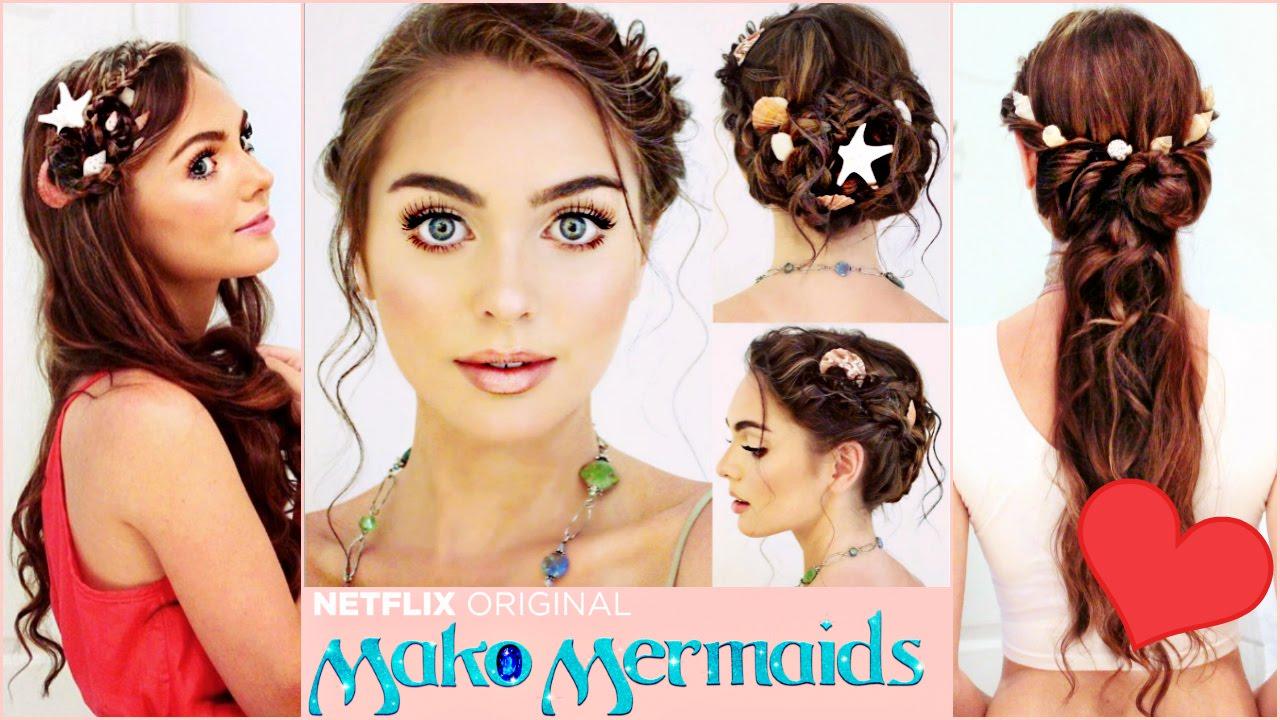 Mermaid Hairstyles wine plum to red plum to peach to yellow orange sunset mermaid hair Mako Mermaids Hairstyles Tutorial Sirenas Braids Youtube