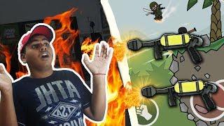 Mini Militia Got Burned Alive !! Flamethrower Lobby Funny Gameplay | Doodle Army 2: Mini Militia #86