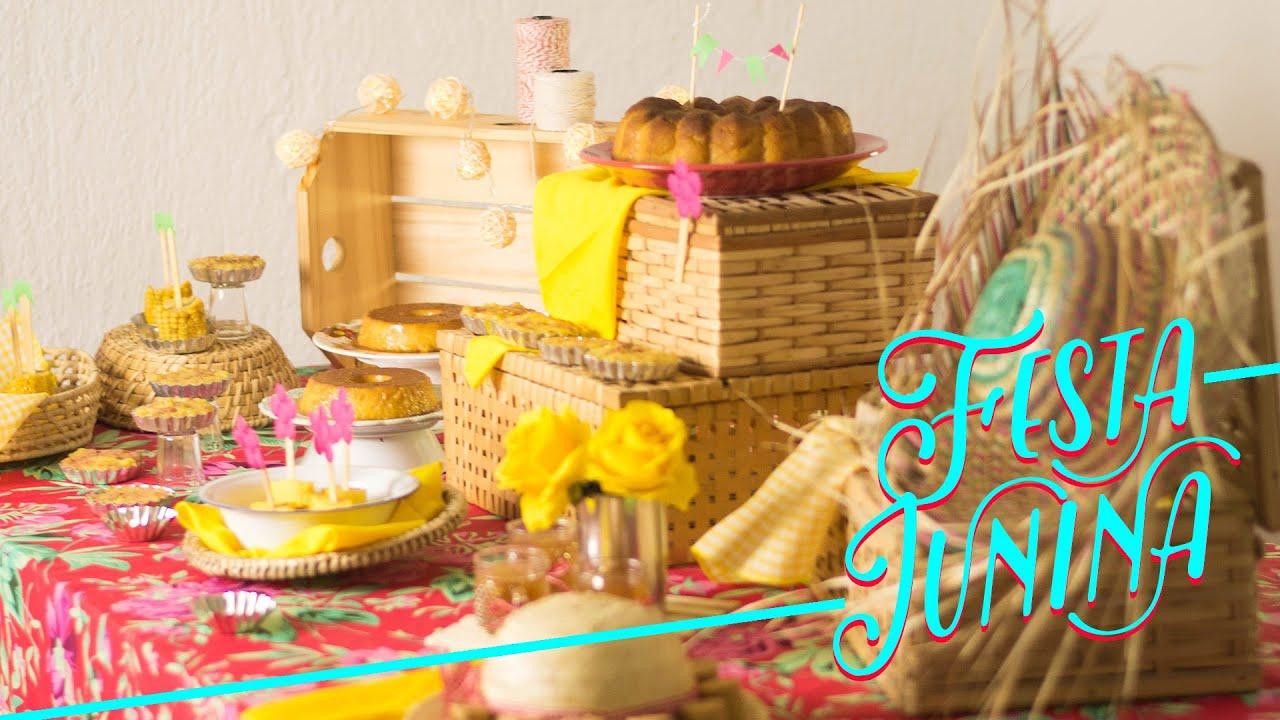Decoraç u00e3o de Festa Junina e receitas pro S u00e3o Jo u00e3o DIY YouTube -> Decoração De Balões Festa Junina