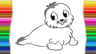 How to Drawing Monk Seal Coloring Page  For Children