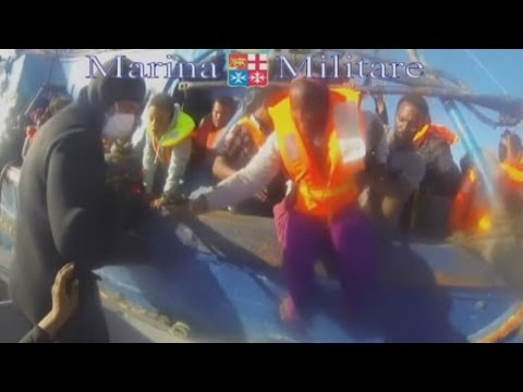 Rescue: Italian navy footage shows rescue of 620 migrants from small boat - ITN  - ytBl5FSjZbw -