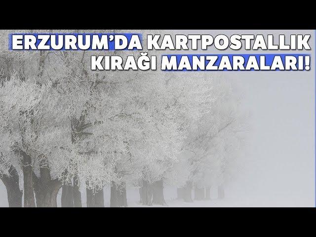 Erzurum'da Kartpostallık Kırağı Manzaraları Havadan Görüntülendi