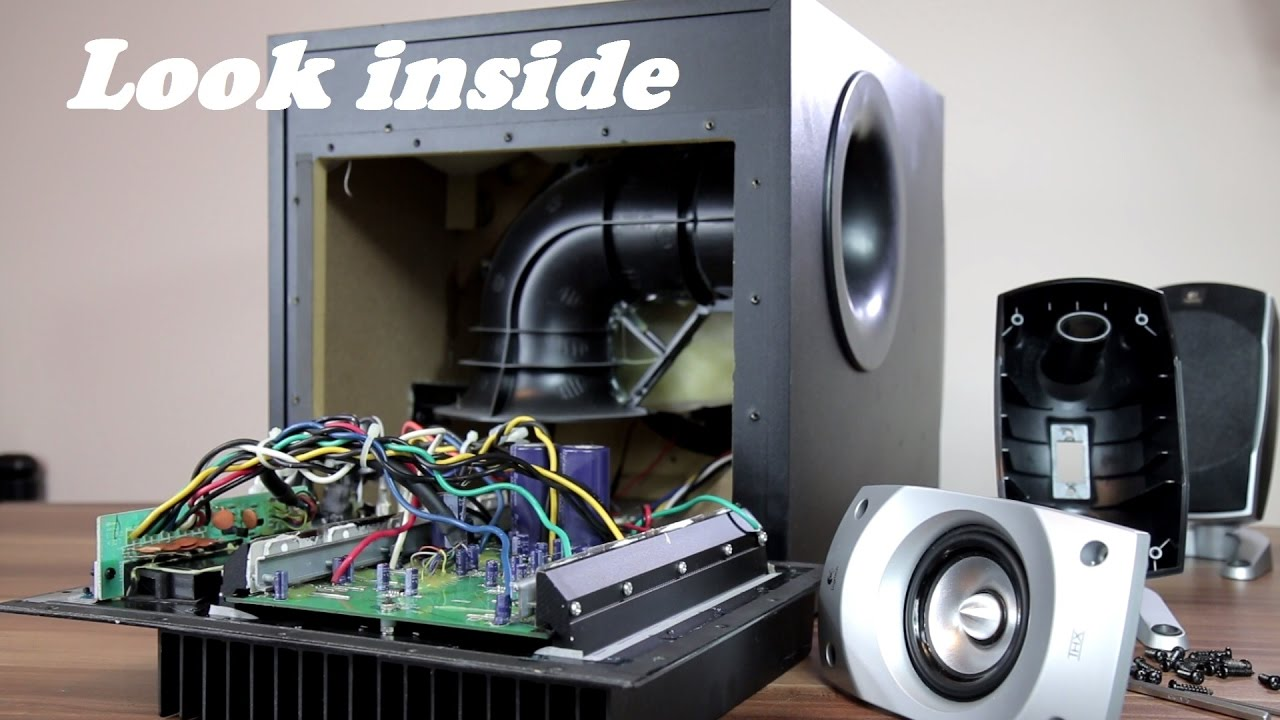 look inside logitech z 5500 5 1 speakers trying to remove sub grill youtube [ 1280 x 720 Pixel ]