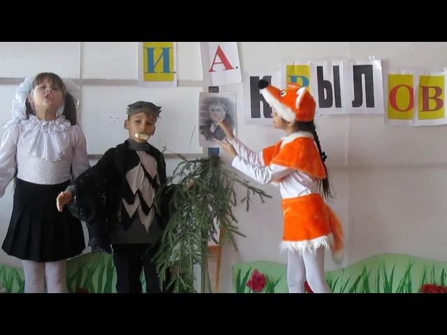 Изображение предпросмотра прочтения – «Карасева Дарья, Кладкова Екатерина и Сорокин Никита» читают произведение «Ворона и Лисица» И.А.Крылова