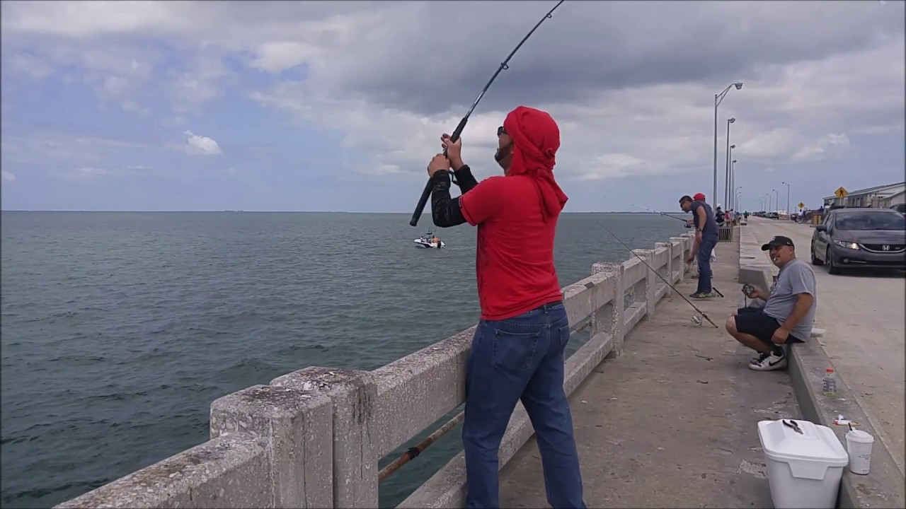 Fishing at sunshine skyway fishing piers apr 22 2017 youtube for Skyway fishing report