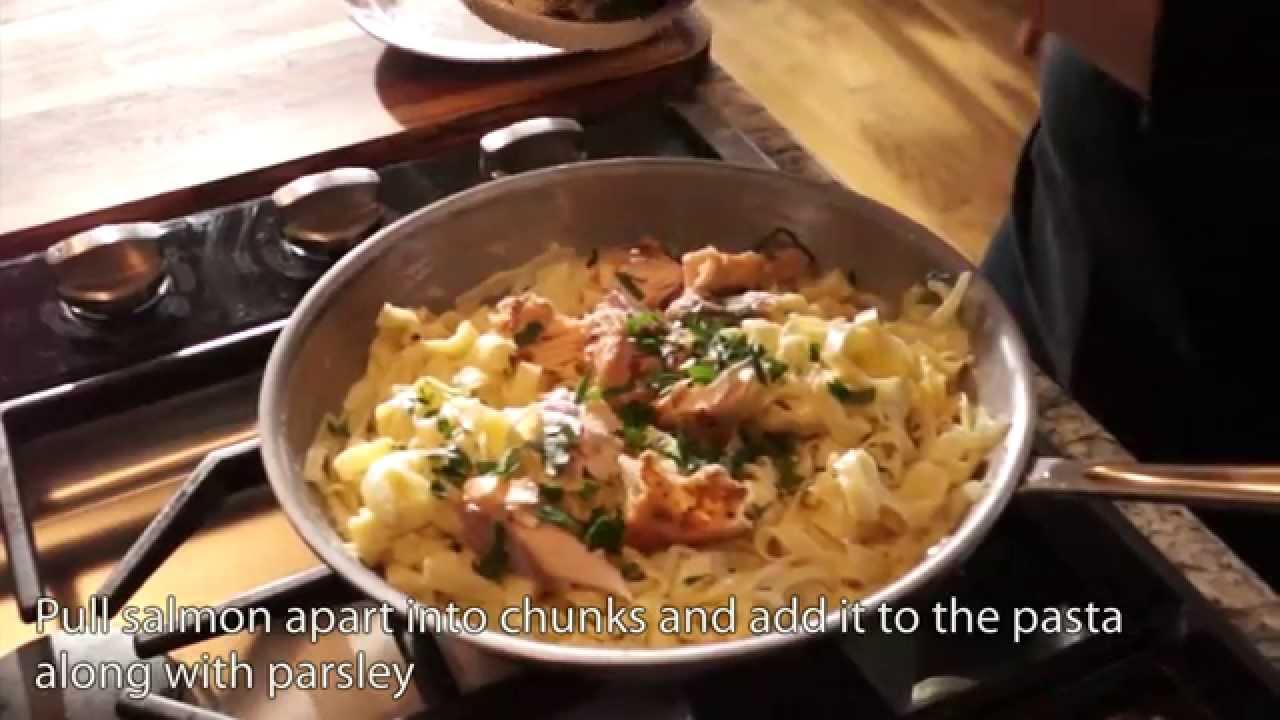 ea58fdb37442 Grilled Salmon Fettuccine in a Garlic Cream Sauce - YouTube