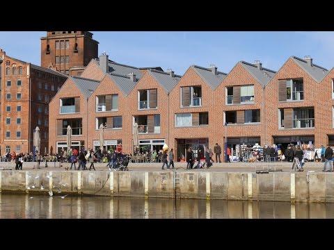 """Wismar, Germany: Alter Hafen (Old Harbor), Hafenpromenade, """"Schifferhus"""" - 4K UHD Video Image"""