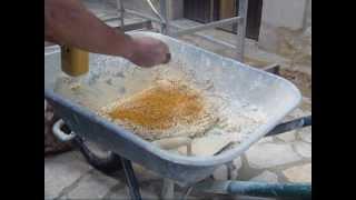 Préparation d'un mortier pierre calcaire pour moulage et coffrage de pierre de Gironde