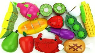 Fun Learning Names of Fruit and Vegetables with Wooden Toys velcro Cutting Fun for Kids