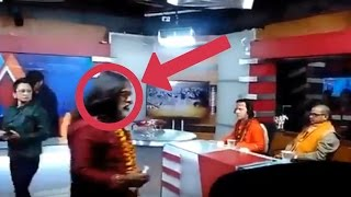 Swami om got angry after getting slapped in sudarshan news studio