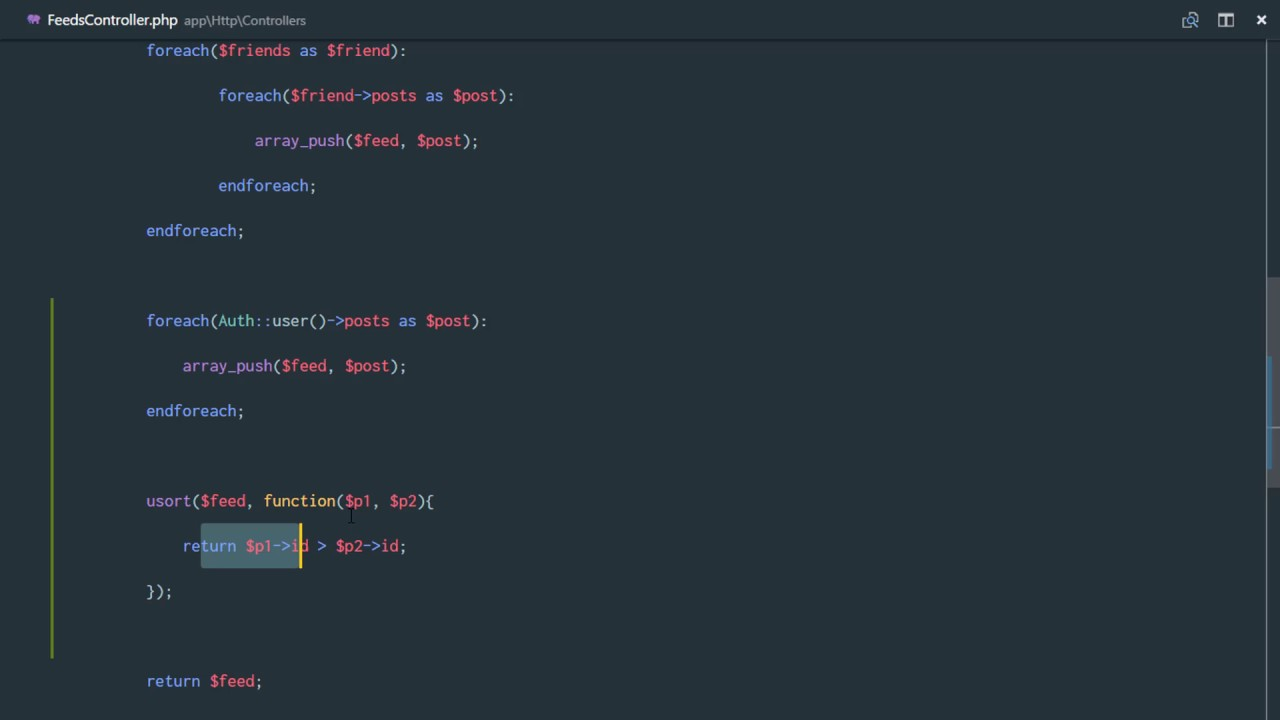 Social network in Laravel 5 3 and Vuejs 2 0 #52 Sorting an array with PHP's  USORT function