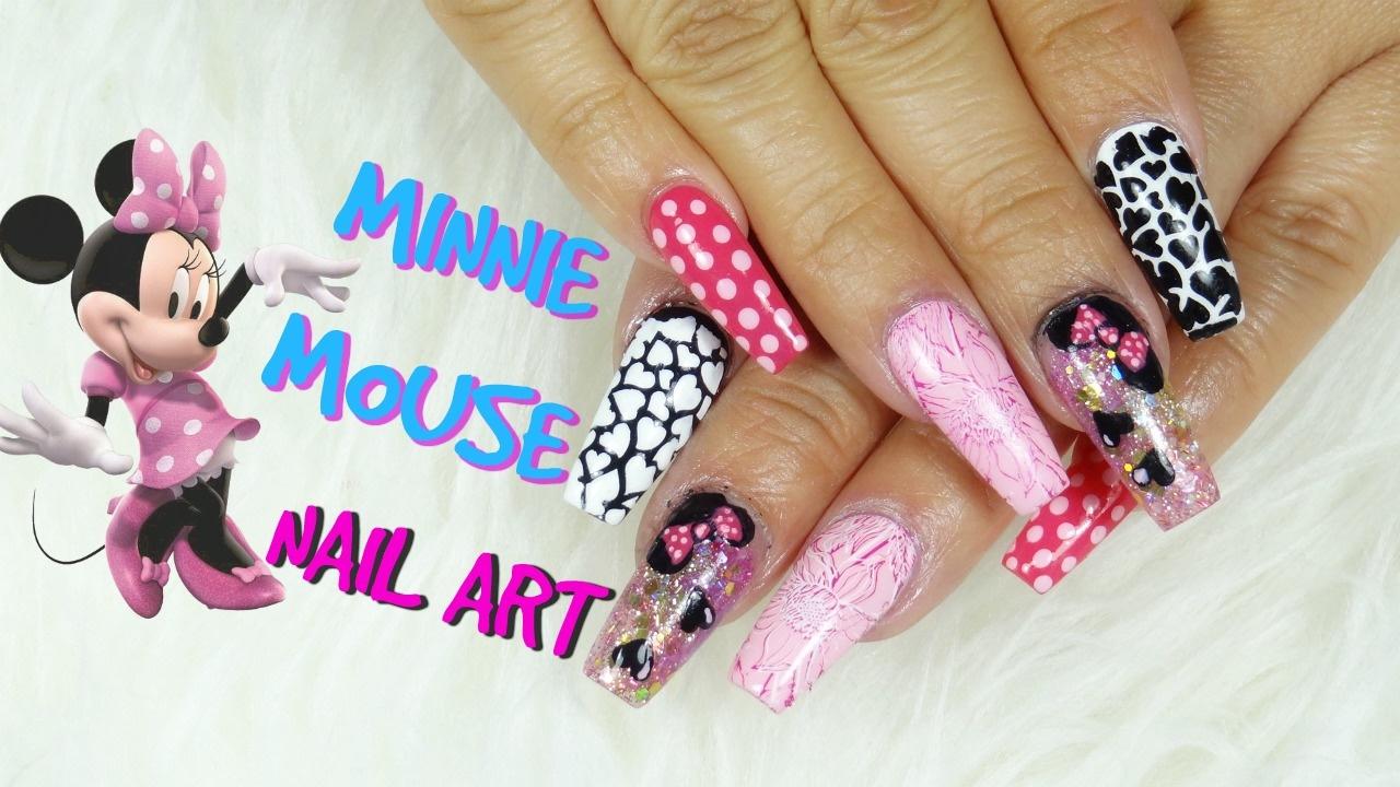 Decoracion de uñas Minnie Mouse/Uñas acrílicas/Uñas de mi cumpleaños ...