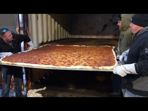 World record pizza taken out of the oven