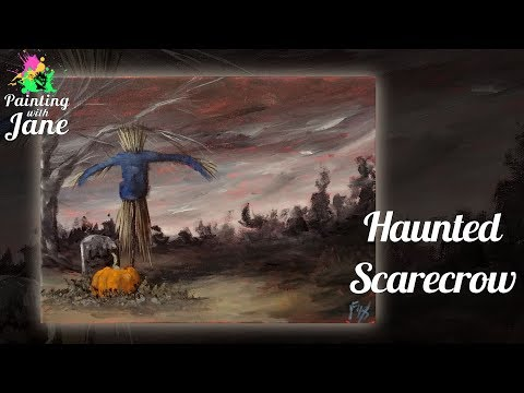 Haunted Scarecrow Step by Step Acrylic Painting on Canvas for Beginners
