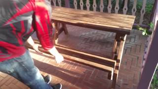 My handmade picnic table/bench Combo action(1)