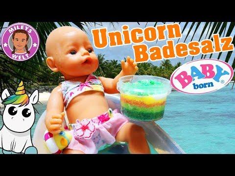 BABY BORN badet in DIY UNICORN BADESALZ - Badespaß für Lotta   Mileys Welt