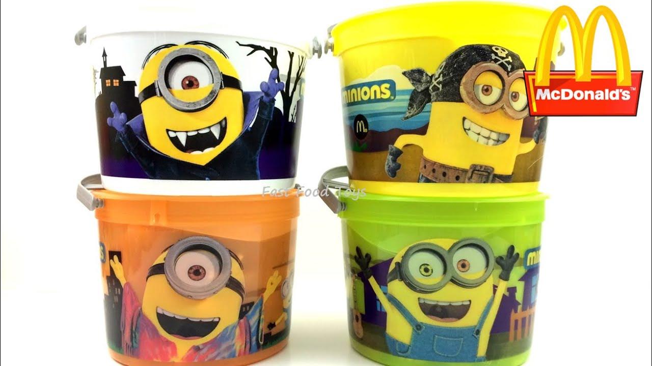 2015 mcdonald's minions halloween pails buckets complete set of 4