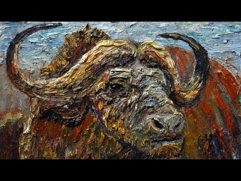 m987 - Original oil painting nature animal wildlife buffalo bull ox art africa