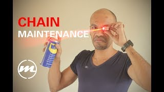 Motorcycle chain maintenance - How to adjust, clean and lubricate - FZ07 #11