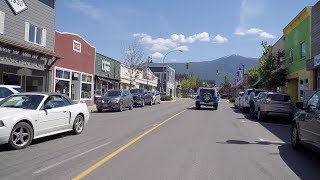 Driving Thru Creston Town. Agricultural Town in British Columbia. East Kootenay Region.