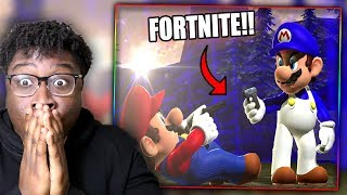 FORTNITE SUPER SMASH BROS! | SMG4: Mario Battle Royale Reaction!
