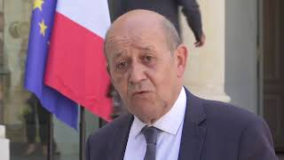Le Drian holds a newser ahead of the G7 summit