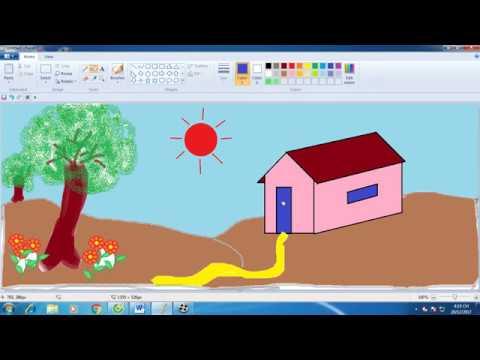 Học Vẽ Paint Trên Máy Tính|| Vẽ Tranh Ngôi Nhà Của Em