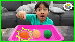 Easy DIY Bouncy Egg Science Experiments for kids to do at home with Ryan!