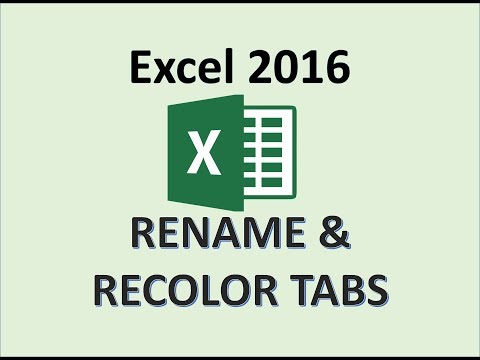 Excel 2016 - Tab Name & Color - How To Rename Tabs And Recolor Worksheets - Sheet Colors & Names MS