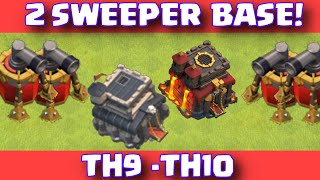 Clash Of Clans Townhall 9 - Townhall 10 Trophy Farming Base With 2 Air Sweepers
