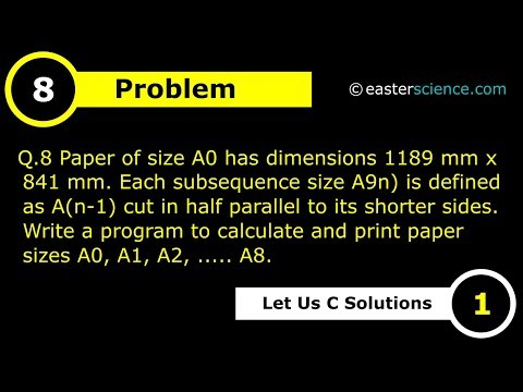 Print Paper Sizes From A0 To A8 Using C Language #8 | Let Us C Solutions