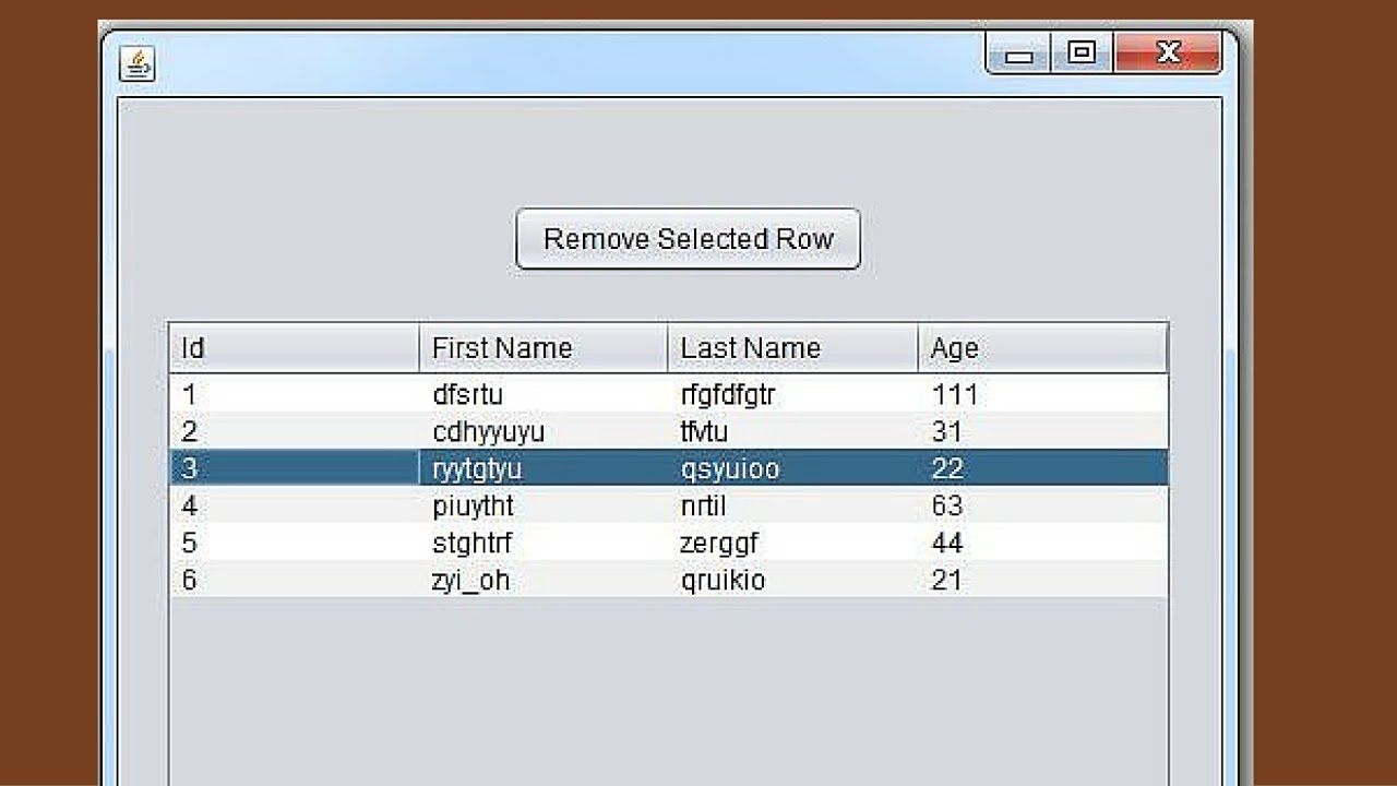 Java tutorial how to remove jtable selected row in java for Design table java swing
