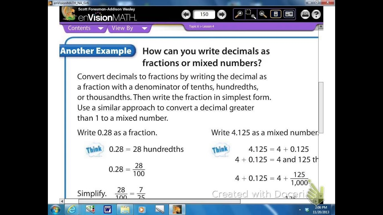 Math 6-4 Decimal Forms of Fractions and Mixed Numbers - YouTube