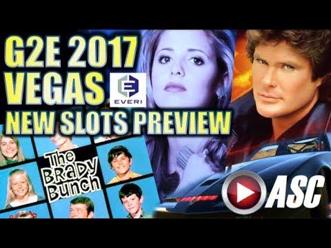 ★NEW SLOTS PREVIEW! EVERI★ BUFFY VAMPIRE SLAYER,  BRADY BUNCH, KNIGHT RIDER | G2E 2017 Slot Machines
