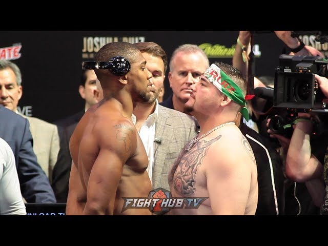 ANTHONY JOSHUA LOOKS DOWN AT ANDY RUIZ JR AT WEIGH IN FACE OFF - FULL WEIGH IN VIDEO