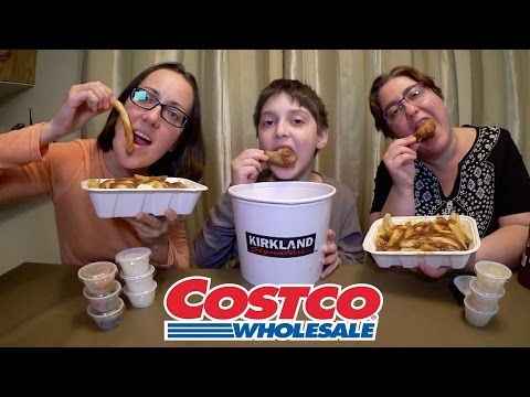Costco Chicken Wings Bucket And Poutine | Gay Family Mukbang (먹방) - Eating Show