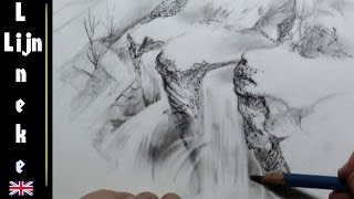 Drawing a WATERFALL in graphite pencil Very easy for beginners