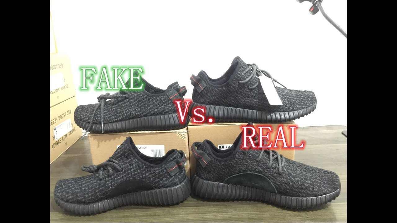 6530d6232e902 Adidas Yeezy Boost 350 Pirate Black Authentic Vs. Fake Review - YouTube