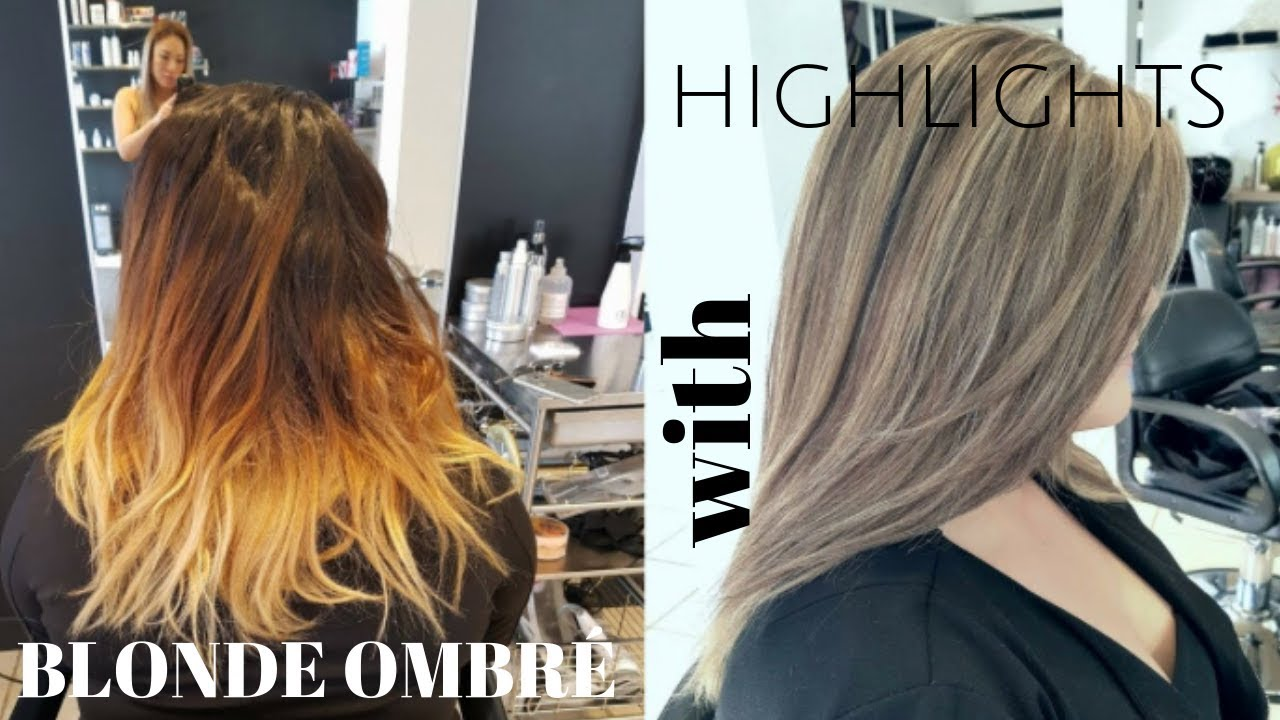Blonde Ombre With Highlights On Top Youtube