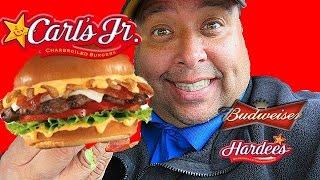 Carls Jr.  Budweiser Beer Cheese Bacon Burger Review!