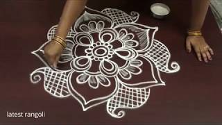 latest rangoli creative flower pattern designs without dots || freehand creative  rangoli designs ||