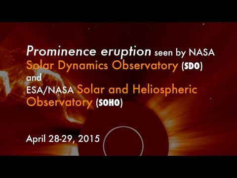 Spectacular solar prominence eruption, April 2015
